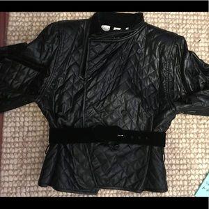 Vintage Emanuel Ungaro Leather/Velvet Coat.